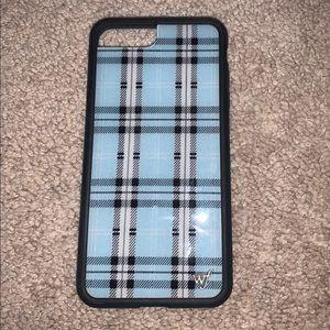 Wildflower Blue Plaid phone case